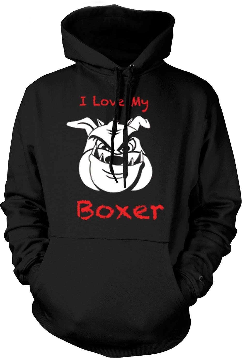 Mens Hoodie - I Love My Dog Boxer
