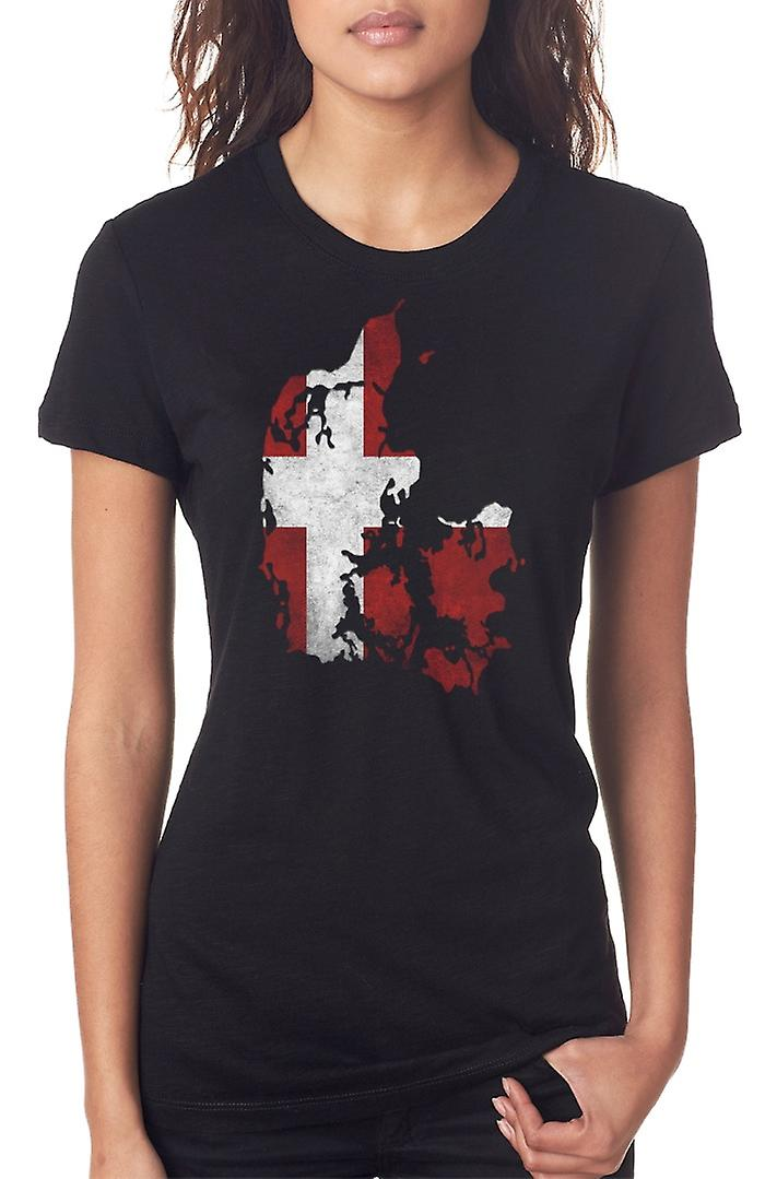 Denmark Danish Flag Map Ladies T Shirt