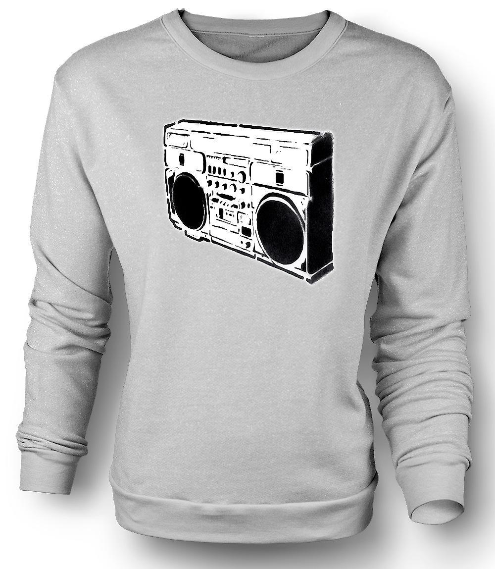 Mens Sweatshirt Boombox Old School - BW
