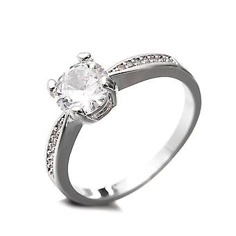 Ring Rhodium and Cubic Zirconia white plate