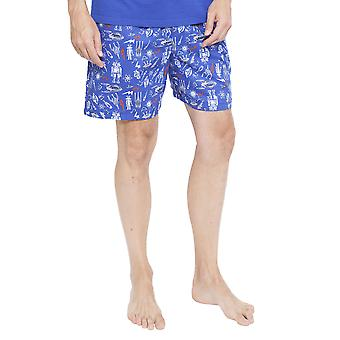 Cyberjammies 6351 Men's Oscar Blue Space and Robot Print Pyjama Short