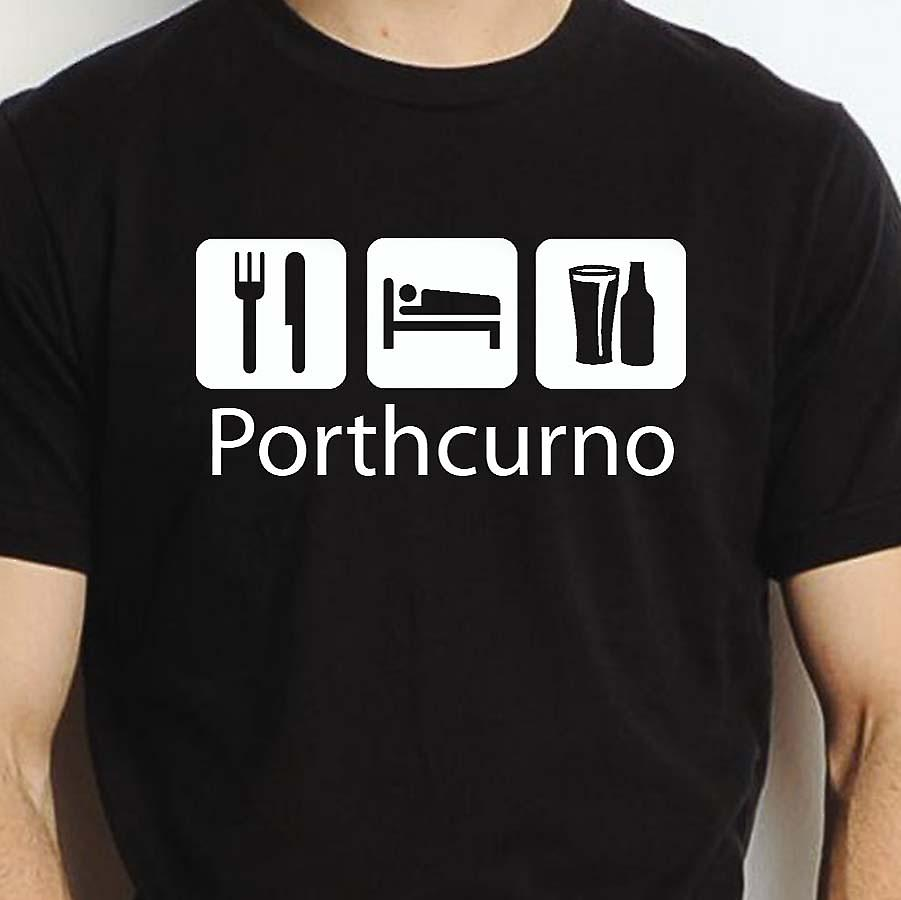Eat Sleep Drink Porthcurno Black Hand Printed T shirt Porthcurno Town