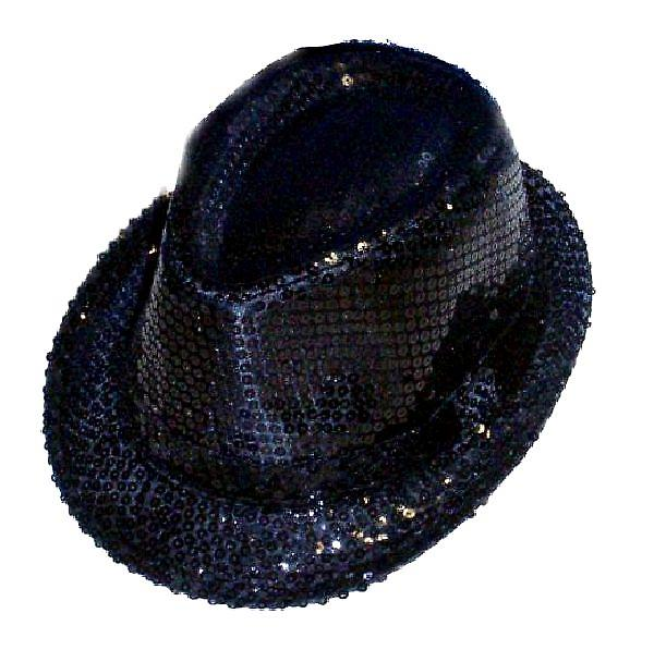 Sequin Gangster Hat - svart