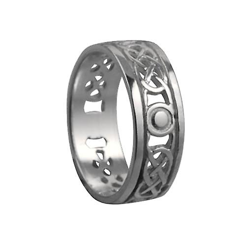 Silver 6mm pierced Celtic Wedding Ring Size Q