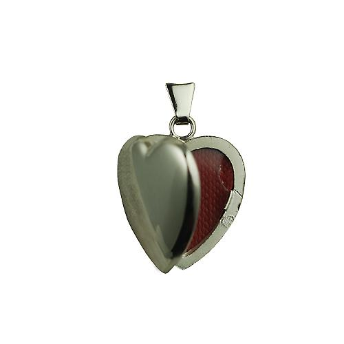 9ct White Gold 21x19mm handmade plain heart shaped Locket