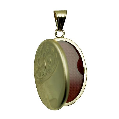 9ct Gold 26x19mm hand engraved flat oval Locket