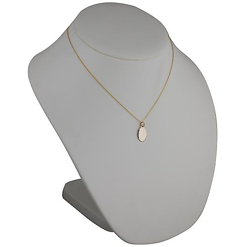 9ct Gold 16x11mm plain oval diamond cut edge Disc with a cable Chain 18 inches