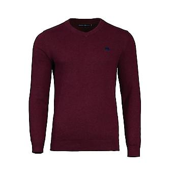 V-Neck Cotton Cashmere Sweater - Burgundy