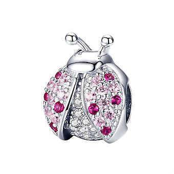 Sterling silver charm Pink ladybug
