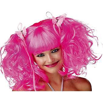 Fairy roze roos Pixie Wig