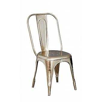 Maison Industrial Metal & Wood Metal Silver Chair - A Pair