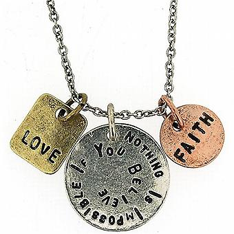 Nothing Is Impossible If You Believe - Triple Charm Tag Pendant 16