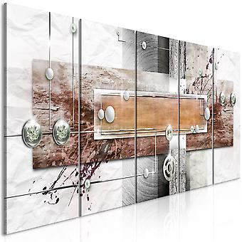 Canvas Print - Mysterious Mechanism (5 Parts) Narrow Brown