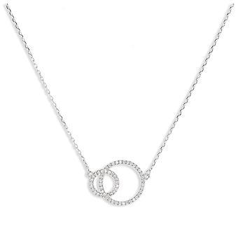 Rhodié silver Double Circle halsband med 45cm zirkonium kubik