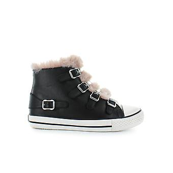 ASH BLACK VALKO SNEAKER WITH PINK FAUX FUR