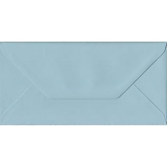 Baby Blue Gummed DL Coloured Blue Envelopes. 100gsm FSC Sustainable Paper. 110mm x 220mm. Banker Style Envelope.