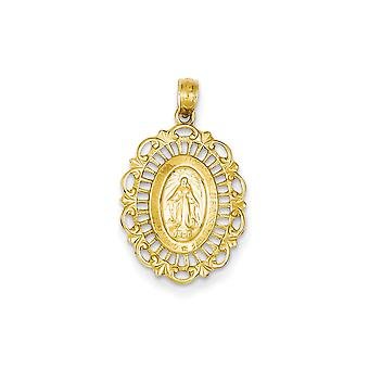 14k Yellow Gold Solid Polished Not engraveable Mary Oval Pendant - 1.1 Grams - Measures 25.6x15.2mm