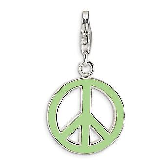 925 Sterling Silver Rhodium-plated Fancy Lobster Closure Green Enameled Peace Symbol With Lobster Clasp Charm - Measures
