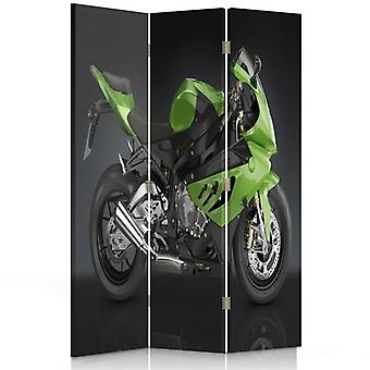 Room Divider, 3 Panels, Double-Sided, Rotatable 360, Canvas, Sports Motorbike