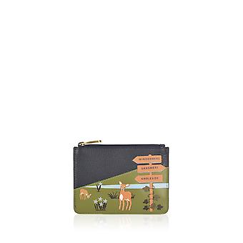 The Lakes Deer Leather Coin Purse in Navy