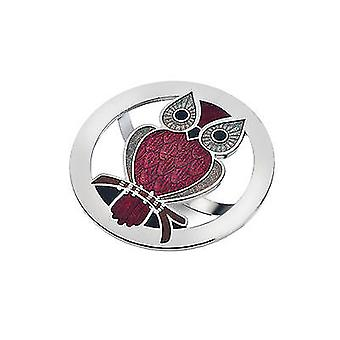 Red Owl Enamel Scarf Ring