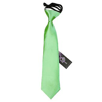 Boy's Plain Lime Green Satin Pre-Tied Tie (2-7 years)