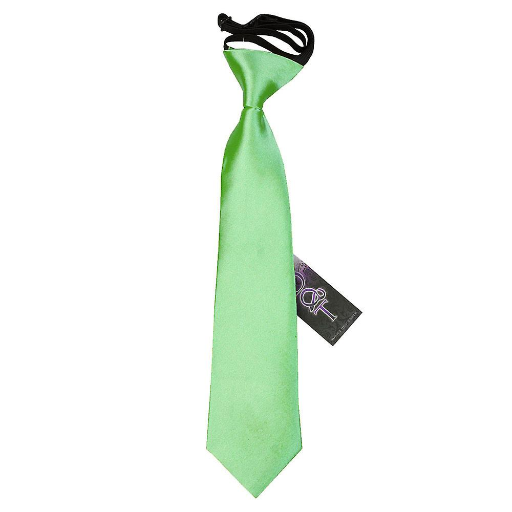Boy's Lime Green Plain Satin Pre-Tied Tie (2-7 years)