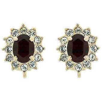 Clip On Earrings Store Gold & Red and Clear Swarovski Crystal Oval Clip on Earri