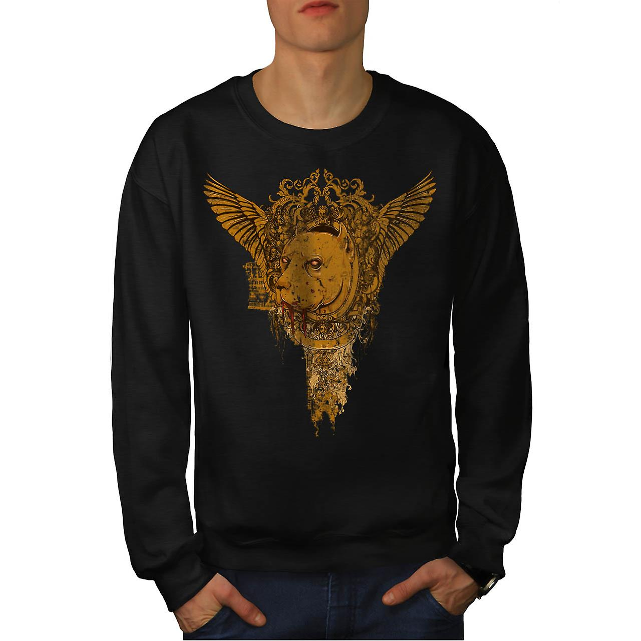 Blood Dog Bite Fear Horror Hound Men Black Sweatshirt | Wellcoda