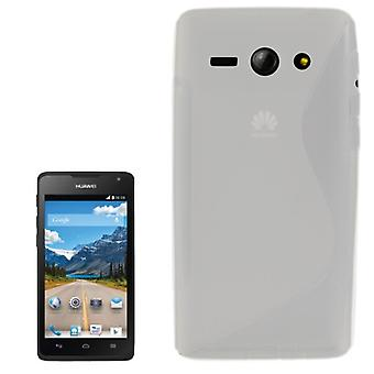 Cell phone cover silicone case (S-curve) for mobile Huawei Ascend Y530 transparent