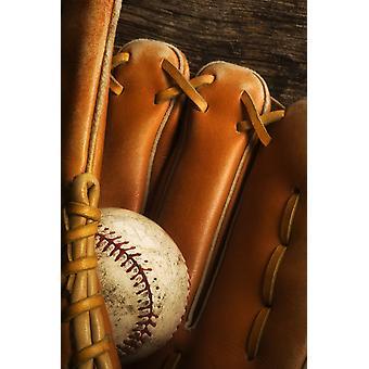 Baseball-Handschuh und Baseball PosterPrint