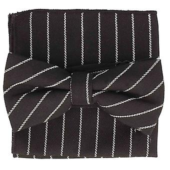 Snobbop set-bound bow tie & handkerchief black cotton striped