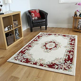 Traditional Cream & Red Wool Rug Riga