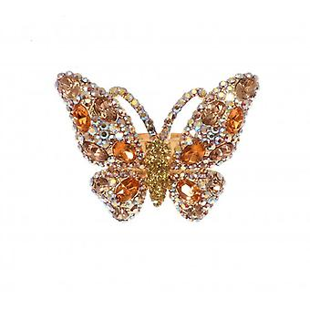 W.A.T Gold Style Gold And AB Swarovski Crystal Butterfly Ring