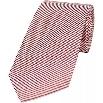 David Van Hagen Thin Diagonal Striped Silk Tie - Red/White