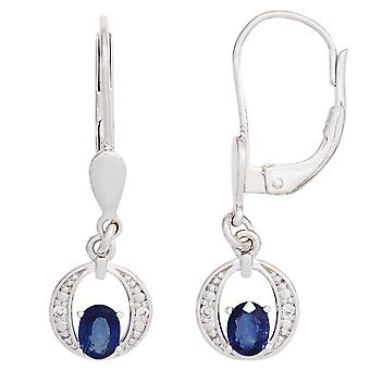 Boutons 585 Gold White Gold 2 blue Safire 4-diamond earrings