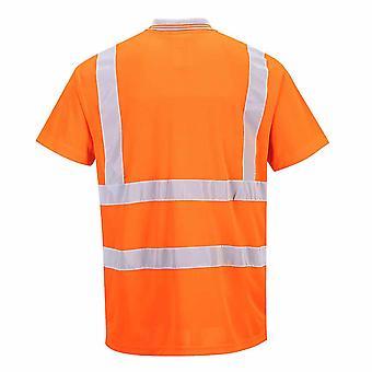 Portwest - Hi Vis seguridad ropa de trabajo Polo manga corto carril carril lado RIS
