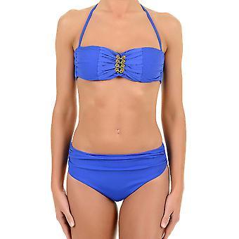 David Solid Blue Balcony Halterneck Bikini Set 6465-DU