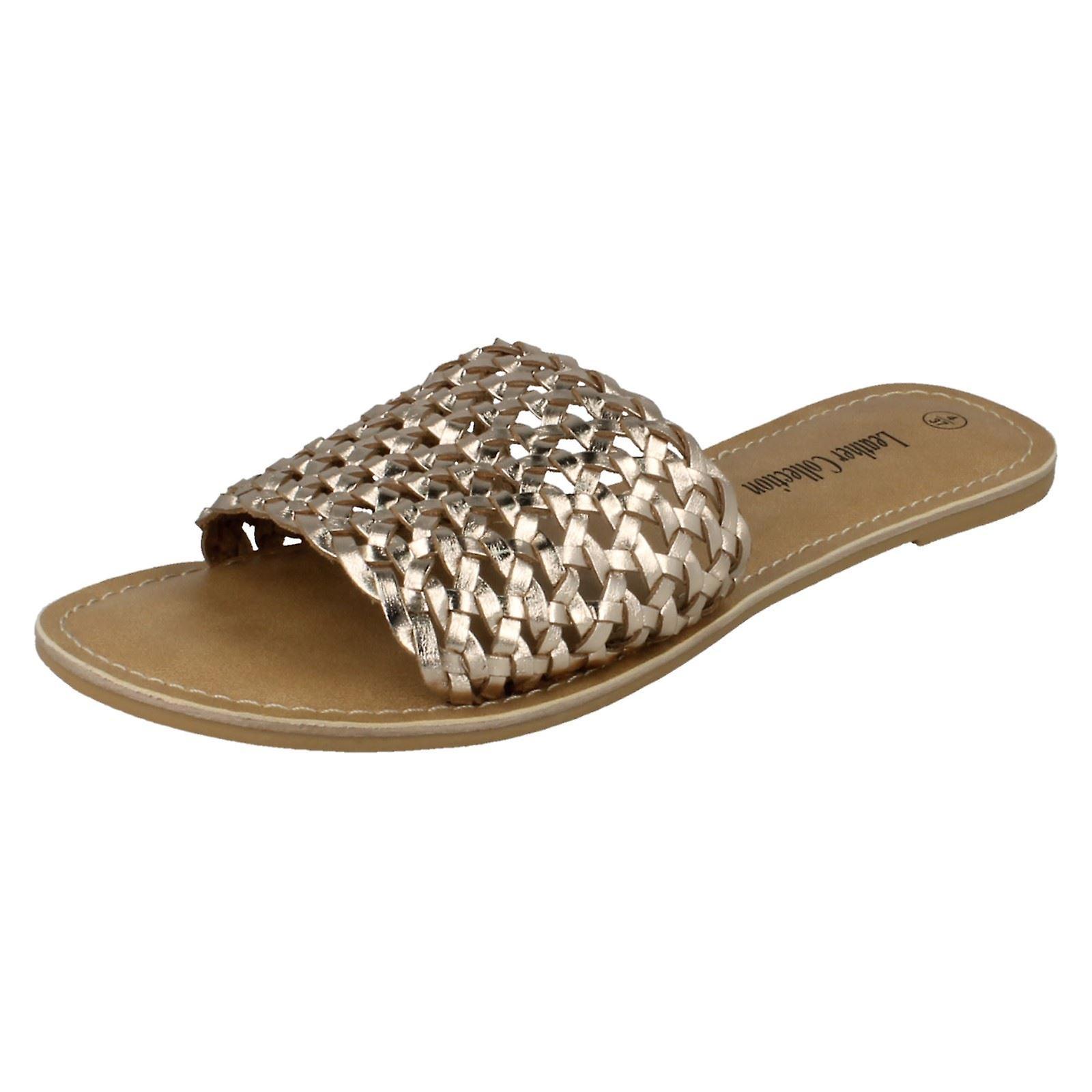 Collezione Flat Weave mulo Sandali F00073 in pelle da donna