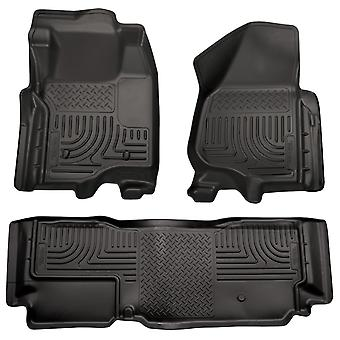 Husky Liners Floor Mats - WeatherBeater 98721 Black Fits: FORD 2011 - 2012 F-25