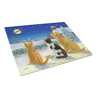 Golden Retriever and kittens Watching Santa Glass Cutting Board Large