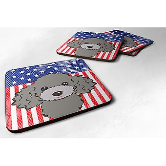 Set of 4 American Flag and Silver Gray Poodle Foam Coasters