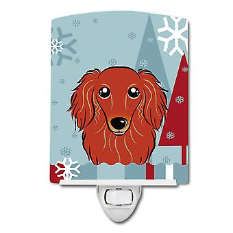Winter Holiday Longhair Red Dachshund Ceramic Night Light