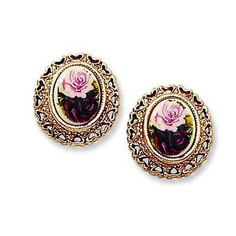 Surgical steel post Rose-tone Rose Flower Decal Button Post Earrings