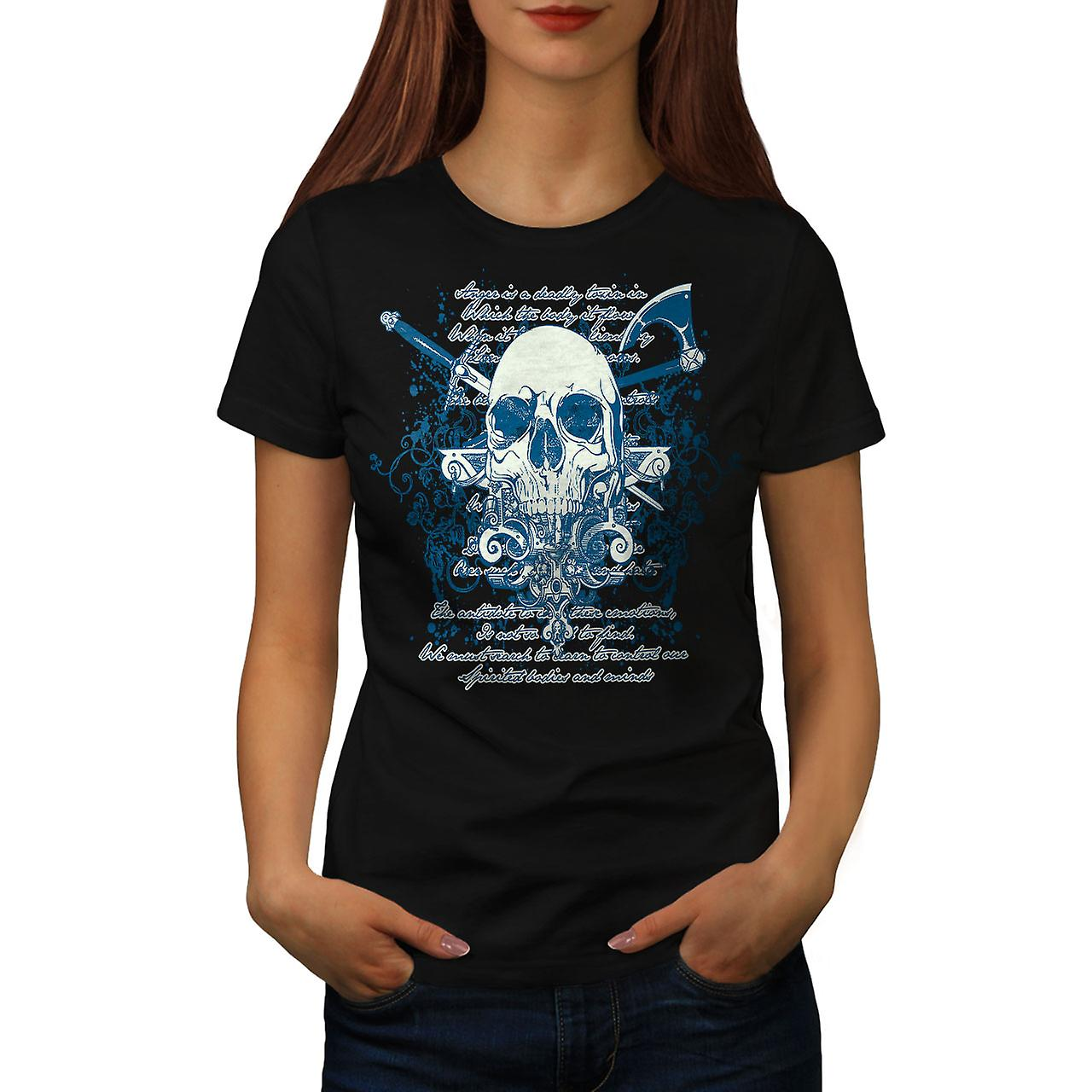 Axe Death Cool Goth Skull Women Black T-shirt | Wellcoda