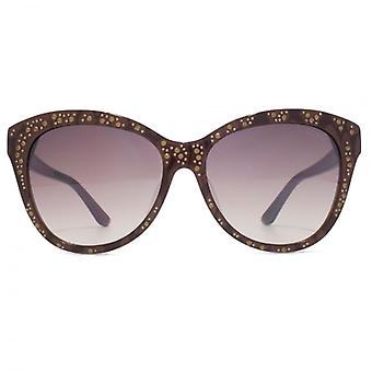 Guess Cateye Sunglasses In Dark Brown Lace Effect