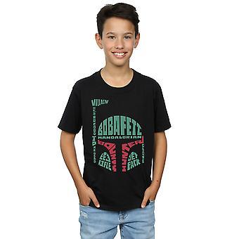 Star Wars Boys Boba Fett Text Head T-Shirt