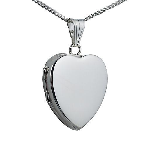 Silver 24x20mm plain heart shaped Locket with a curb Chain 18 inches