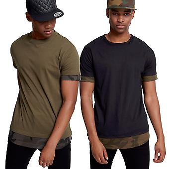 Urban classics - SHAPED Camo inset long tee shirt