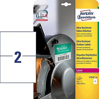 Avery-Zweckform L7916-10 Labels (A4) 210 x 148 mm PE film White 20 pc(s) Permanent All-purpose labels